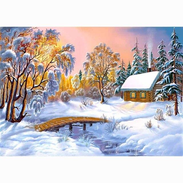 ДОМ КРАСОТЫ 5d алмаз вышивка крестом комплекты diy вышивка украшение дома горный хрусталь картина DMC живопись мозаика зима снег GA302