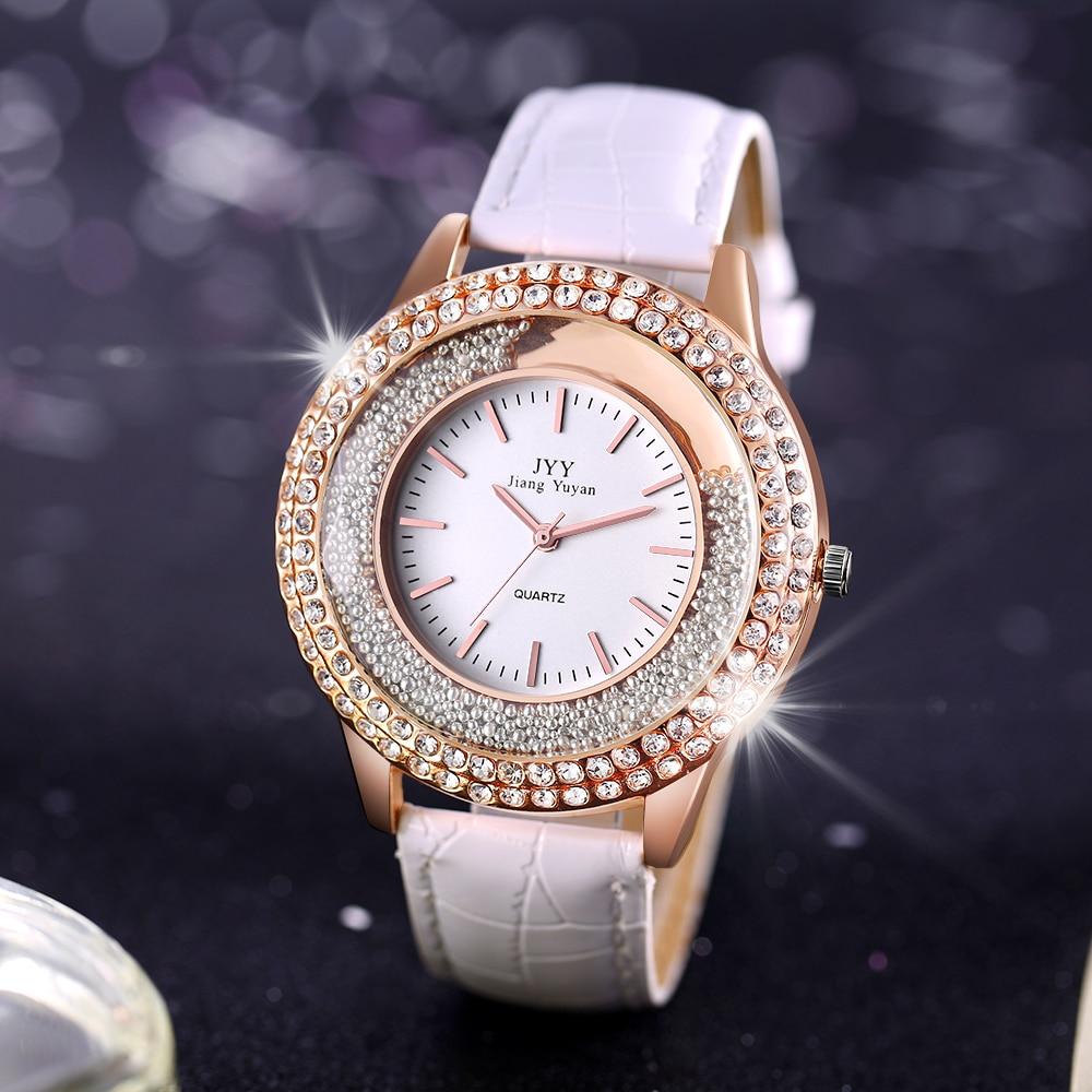 Cuero Ronda Mujeres Vestido Reloj Moda Diamante Rhinestone Casual - Relojes para hombres