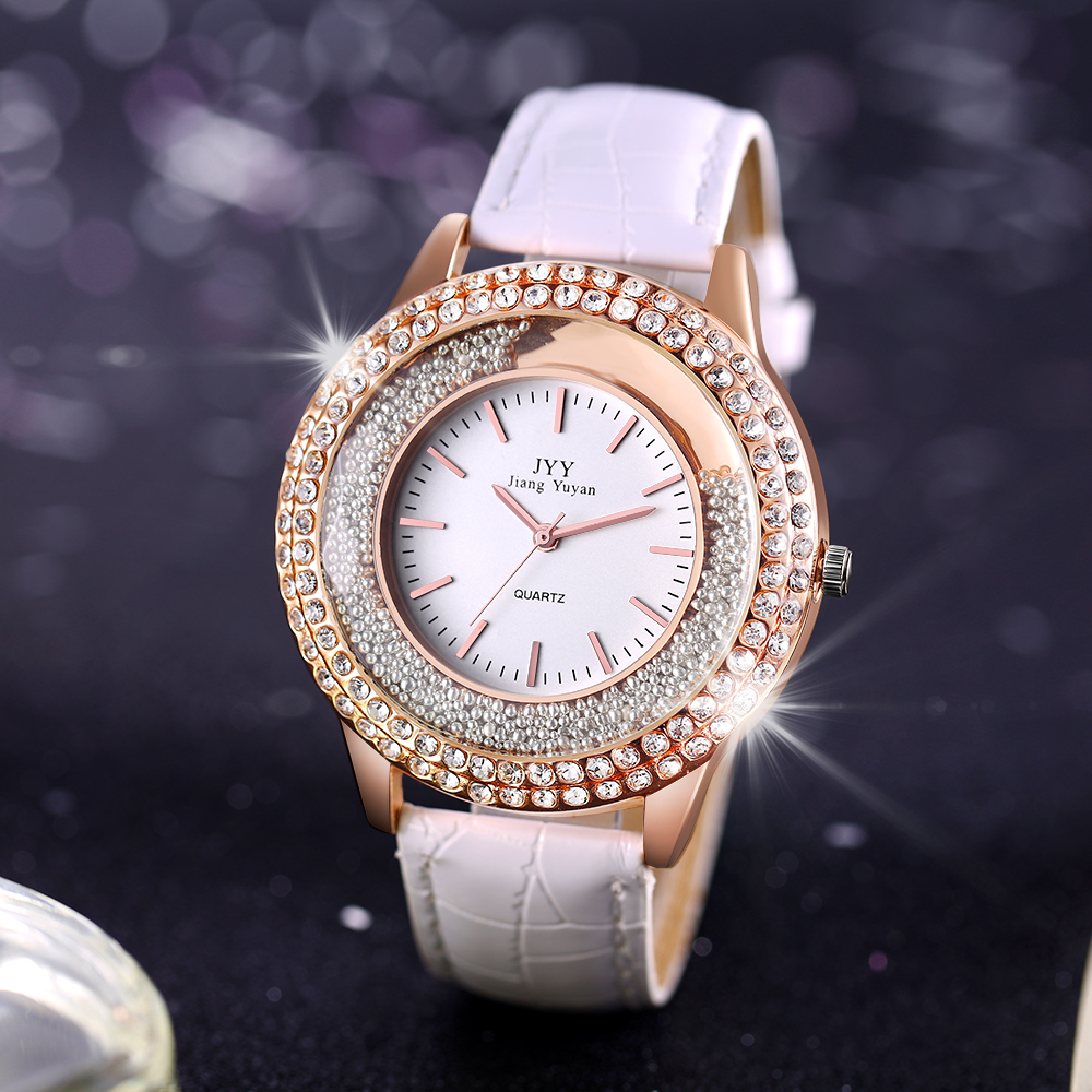 Lederen ronde vrouwen jurk horloge mode diamant strass casual - Herenhorloges