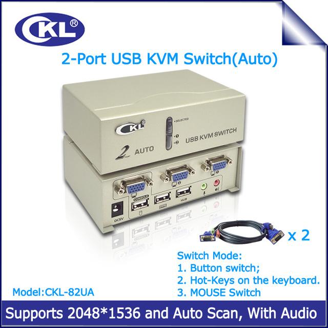 CKL-82UA Auto Switch kvm VGA 2 Puerto USB con Audio Switcher para Teclado Ratón Monitor de PC