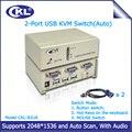 CKL-82UA Auto USB KVM VGA Switch 2 Portas com Áudio Switcher para Teclado Mouse Monitor de PC