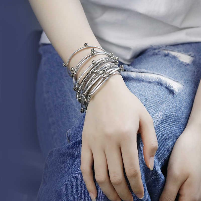 ALLYES Многослойные Кожаные женские браслеты кристалл металлические бусины богемная накидка кожаный браслет женский