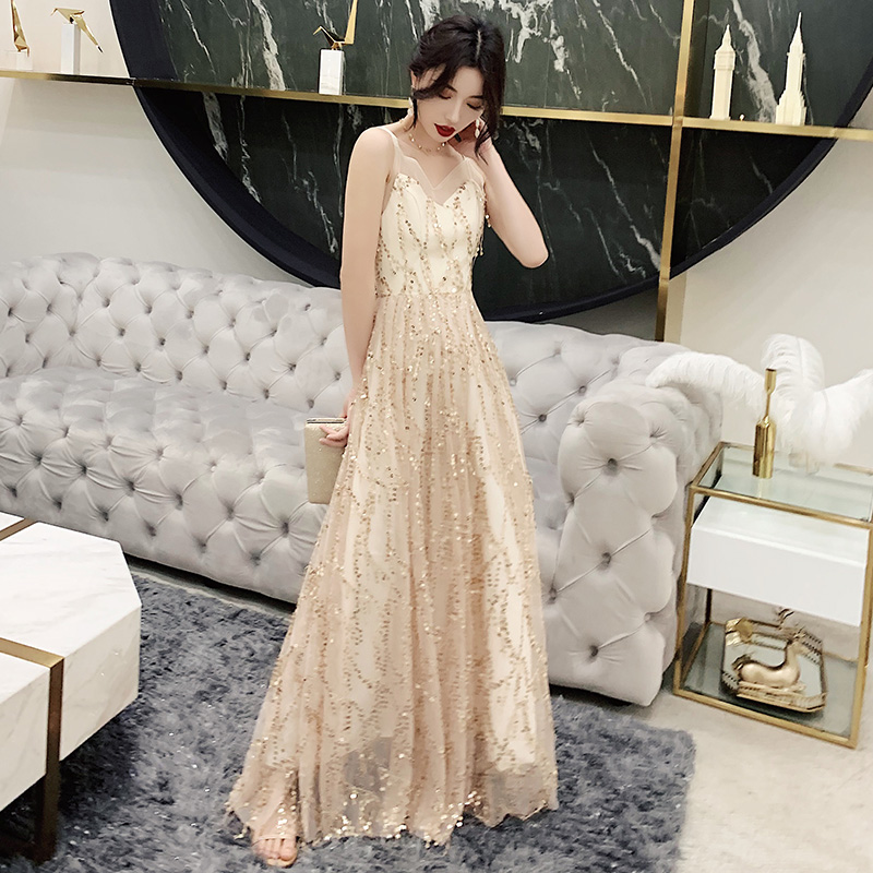 Robe De Soiree 2019 New Elegant A Line V Neck Backless Champagne Long Formal   Evening     Dresses   Sequined Party Gowns LF459