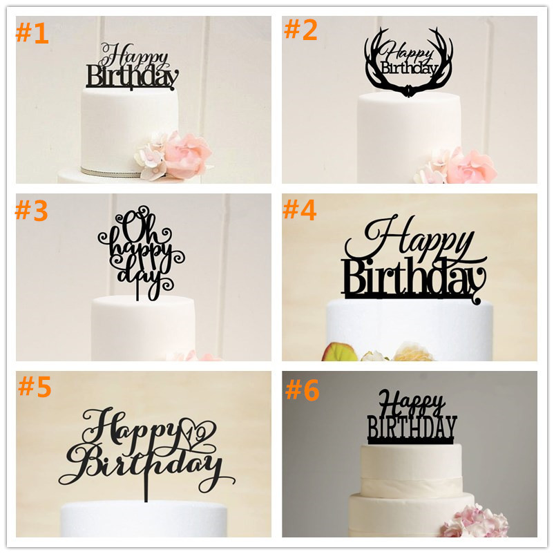 Free Shipping Happy Birthday Acrylic Cake Topper Birthday Party Cake