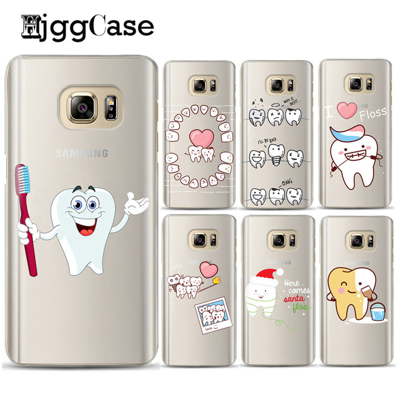 Funny <font><b>Cartoon</b></font> Dentist Dental Crowned Teeth Soft <font><b>Phone</b></font> <font><b>Case</b></font> For <font><b>SAMSUNG</b></font> GalaxyS6 S7 Edge S8 Plus A3 <font><b>A5</b></font> <font><b>2016</b></font> 2017 J510 J710 Cover image