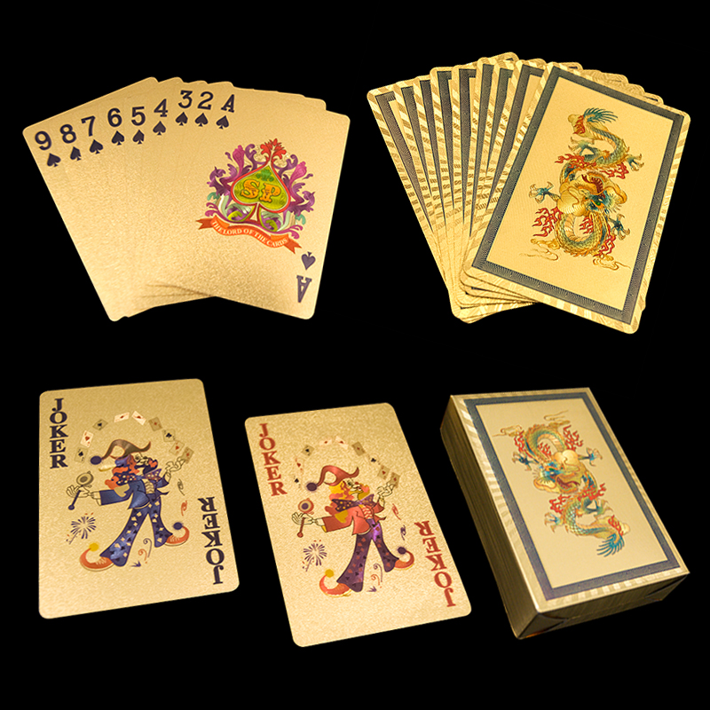 2017 Hot Selling Rich Man Golden Playing Cards Gold Foil Poker 55 Card Deck Chinese Dragons Cards or Phoenix Cards Birthday Card