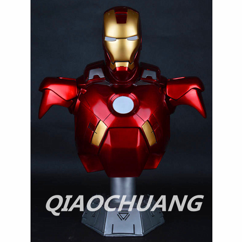 Statue Avengers Iron Man 1:2 Bust Tony Stark MK7 Half-Length Photo Or Portrait With LED Light Resin Collectible Model Toy Boxed statue avengers iron man war machine bust 1 1 life size half length photo or portrait collectible model toy wu849