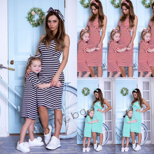 Mother and Daughter Stripe Dress Matching Women Kid Girls Casual Family Clothes