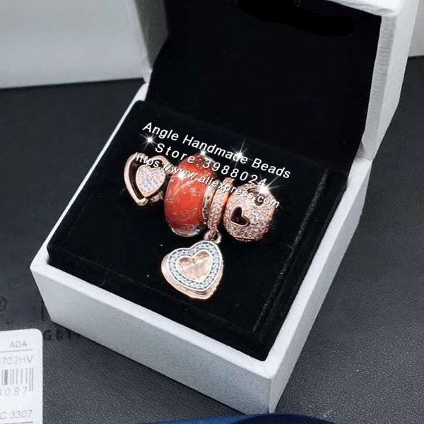 4 pièces Ensemble de Bijoux En Or Rose Amour Coeur CZ Dangle Charmes Perles bracelet à bricoler soi-même Colliers Fabrication De Bijoux Femme Cadeau
