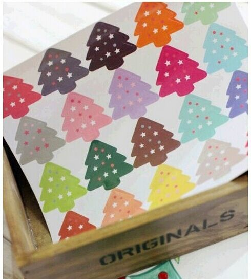 100PCS NEW vintage Colourful Christmas Tree Theme Sealing sticker DIY Gifts posted/Baking Decoration label Multifunction posted