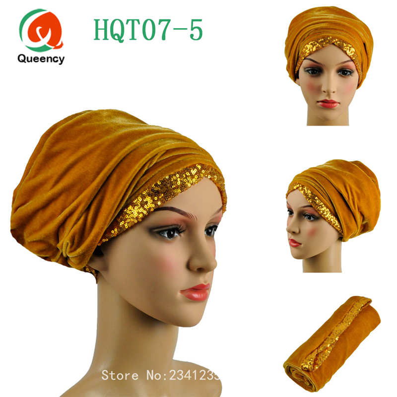 Super quality African turban gele sequins african women headtie 13colors Solid african scraf headwrap lady turban women headtie.