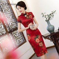 Summer 2019 Retro Flower Cheongsam Red Price Dresses Qi Pao Women Traditional Chinese Dress Qipao Promotion Vintage Gown Long