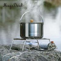 MagiDeal Foldable Camping Stoves Picnic BBQ Cooker Rack Support Stand/Potable Folding Stainless Steel Cooking Accessory