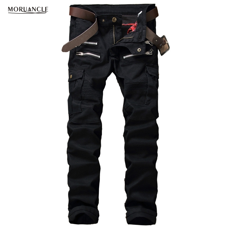 ФОТО 2017 New Mens Cargo Jeans Pants Brand Designer Denim Joggers Man Slim Fit Military Style Jean Trousers Multi Zipper And Pockets