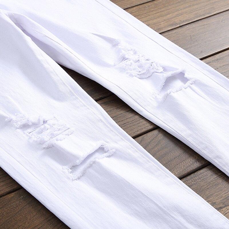 Skinny Hop Hommes Déchiré Mâle Pantalon Plus Streetwear Pour Hip Qmgood De Mode Mince Taille La Jeans Denim Blanc Zipper dtw6XxqxR