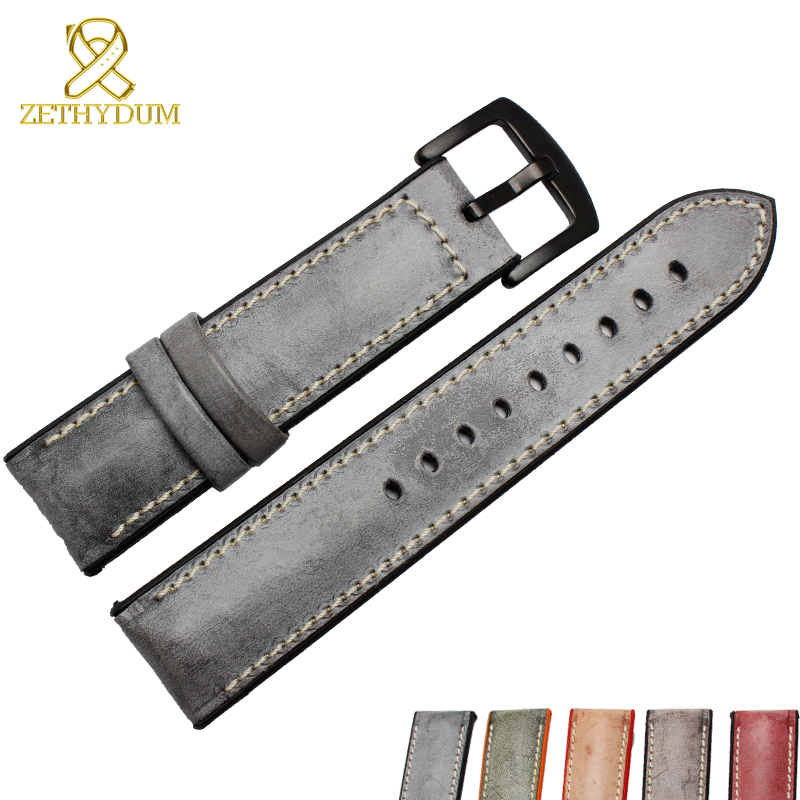 Genuine Leather Watchband 18 20 22 24mm Wipe Wax Leather Watch Strap Bottom Is Waterproof Silicone Wristwatches Belt Pin Buckle