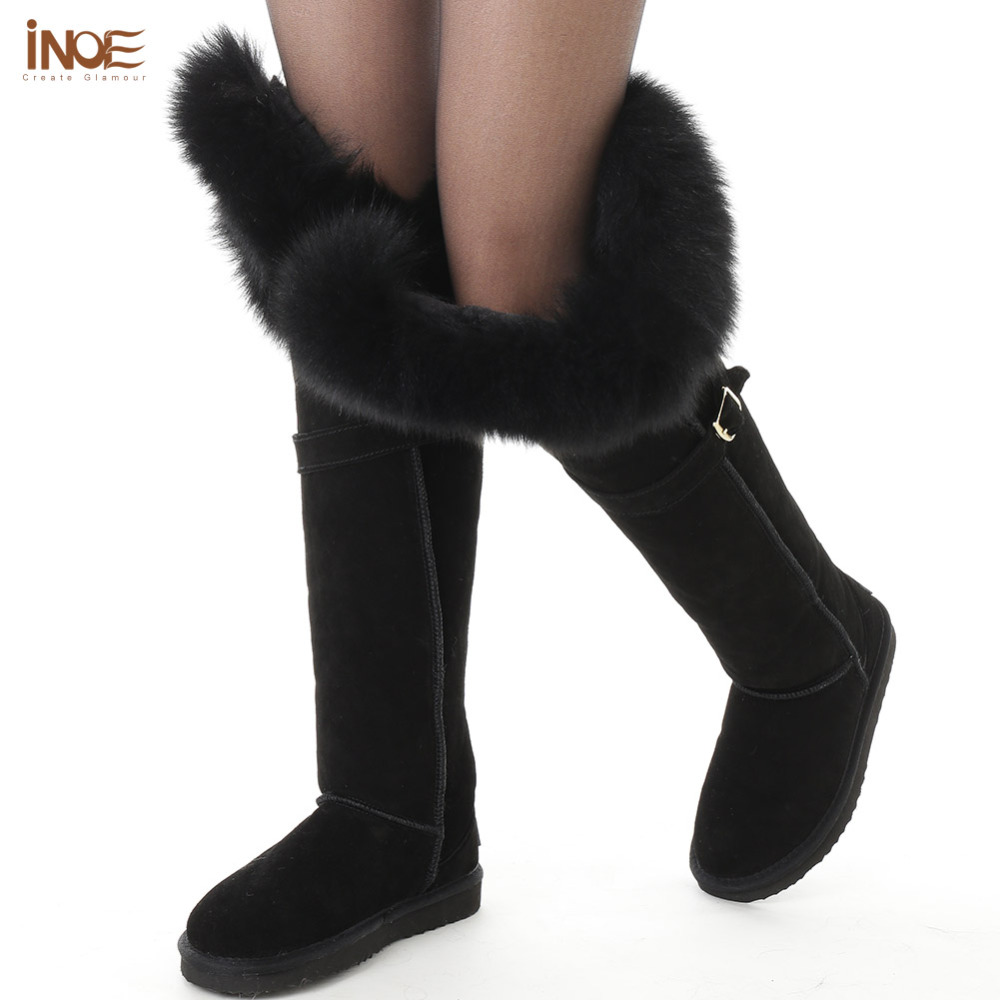 thigh suede sheepskin leather fur lined natural fox fur over the knee long winter snow boots for women high winter shoes