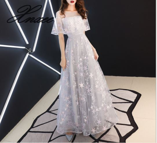 2019 new ladies temperament long paragraph noble slimming party dress