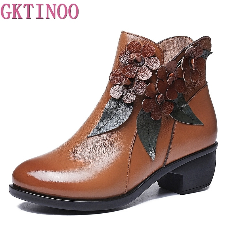 GKTINOO 2018 Women's Ankle Boots Autumn Winter Genuine Leather Boots for Women Handmade Flower Martin Boots Thick Heels Shoes цены онлайн