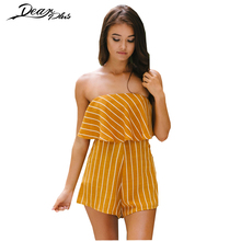 Strapless Sleeveless Ruffle Stripe Casual Playsiut Women 2017 Summer Rompers Jumpsuit Sexy Backless Beach Overalls