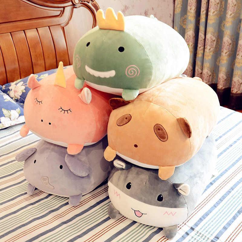 Мягкие животные мультфильм милые подушки жир Единорог, динозавр слон хомяк енот плюшевый игрушка мягкие милые дети подарок на день рождения