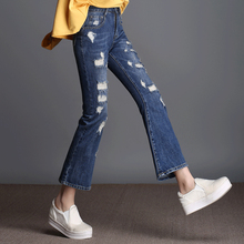 FOKINOFE Elastic High Waist Ankle Length Boot Cut Woman Jeans Hole BF Flare Jeans 2017 Plus Size Woman Straight Jeans