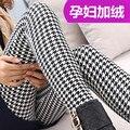 As mulheres grávidas com inverno quente calças de lã grossa de veludo jacquard mulheres calças quentes Leggings
