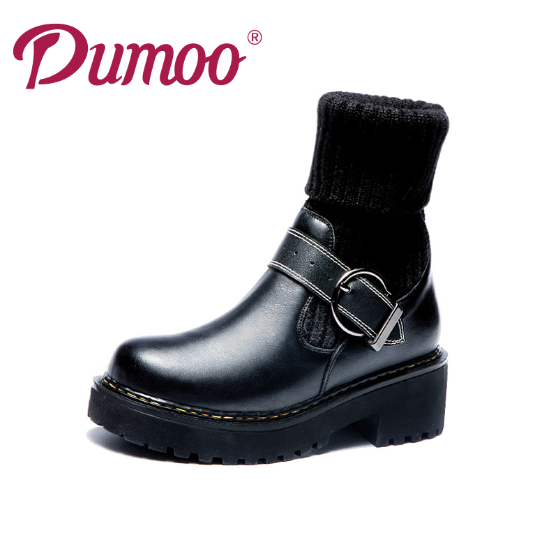 Dumoo Brand Designer Winter Shoes Women Boots Thick Heel Woman Boots Fashion Genuine Leather Boots Cow Leather Ladies Shoes