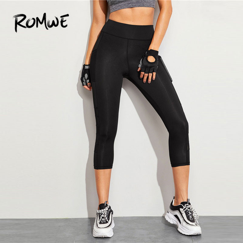 Romwe Sport Contrast Mesh Skinny Leggings Spring Summer Compression Pants Women Black Athletic Training Pants Solid Sport Pants