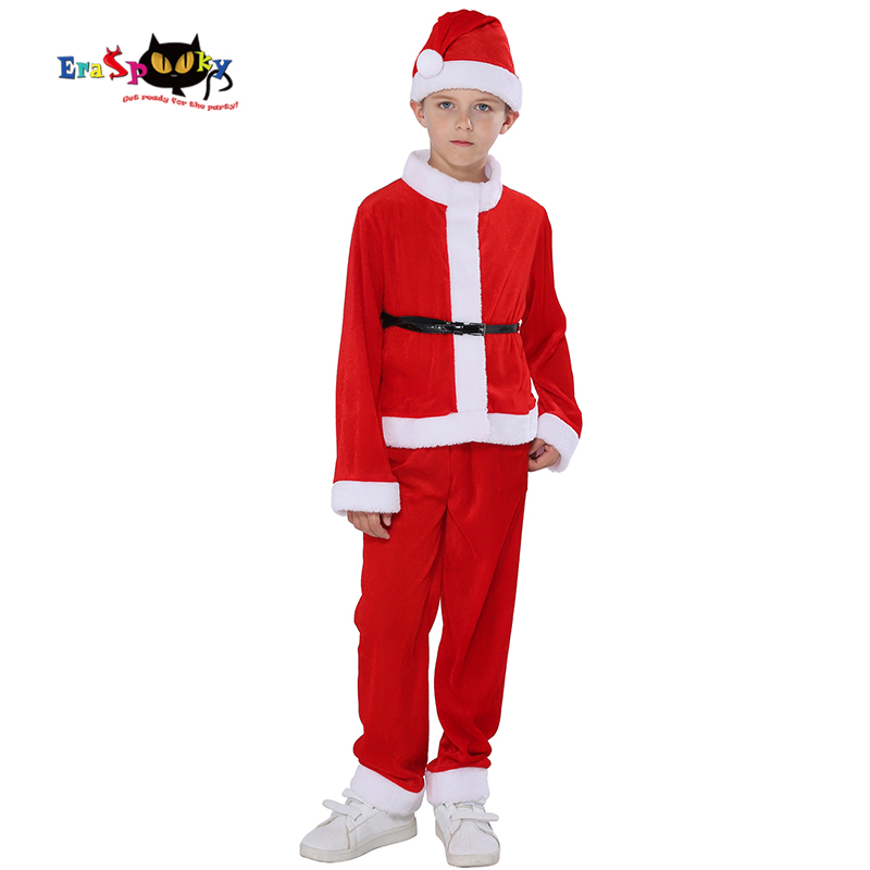 Eraspooky Velvet Santa Claus Costume for kids Christmas Cosplay Children Carnival Party Suit Boys Hat Pants New Year Outfit