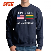 Half Lithuanian Half American 100% Lithuania Sweatshirts Man Vintage Cotton Crew Neck Pullover Lightweight Hoodies Tops