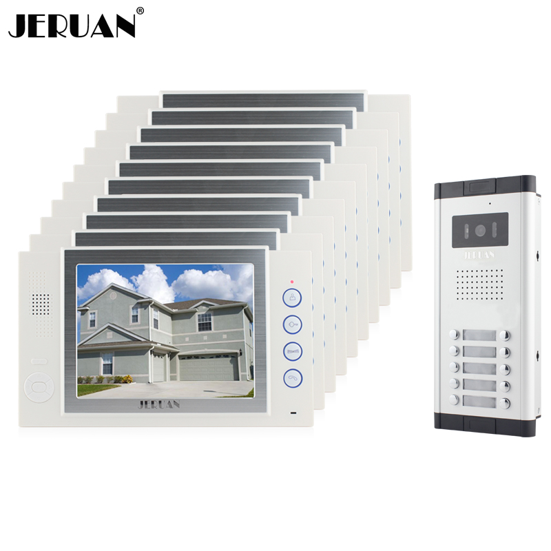 JERUAN Brand New Apartment Intercom 8`` LCD Video Door Phone Doorbell intercom System for 10 house 1V10+8GB card+free shipping new apartment doorbell intercom 7 lcd touch key video door phone intercom system 1camera 10 monitors for 10 house free shipping
