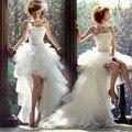 Дешевые Белый Vestido Де Noiva Модные Свадебные Платья Белый женщин Fashinable Короткие Спереди с Трейлинг Свадебное платье