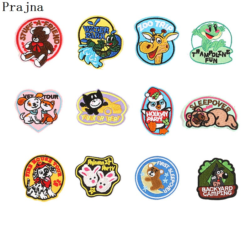 Prajna DIY Cute Self Adhesive Animal <font><b>Patch</b></font> Stick On Shoes Clothes Cheap Embroidered Cat <font><b>Deer</b></font> <font><b>Patches</b></font> Hot Sale New Products Decor image