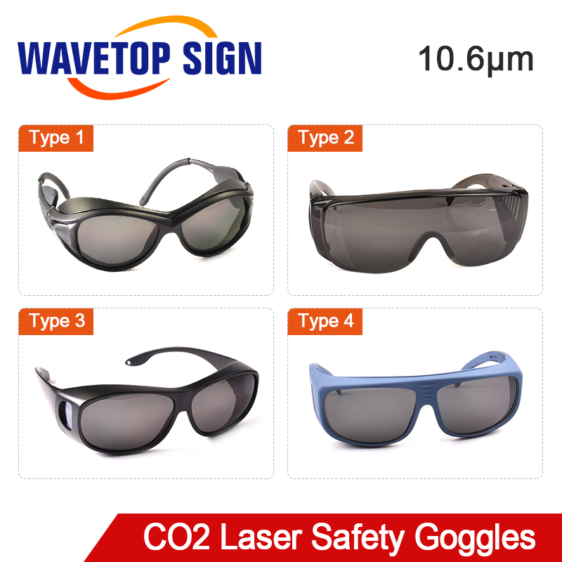 WaveTopSign 10.6um 10600nm Laser Safety Goggles Shield Protection For CO2 Laser Cutting Engraving Machine