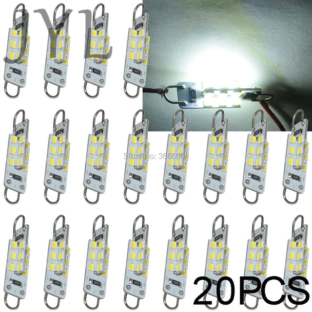20pcs pure white 24 smd 1 73 44mm 214 rigid loop led bulbs car rh aliexpress com Interior Dome Lights car interior map reading lights