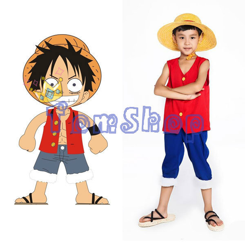 Us 8 09 10 Off Anime One Piece Monkey D Luffy 2 Years Later Kids Cosplay Child Full Set Halloween Costumes Tops Pants Straw Hat Free Shipping In