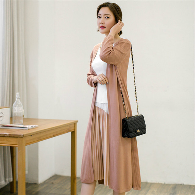 spring summer autumn Large Size Long knitted cardigan women thin ...