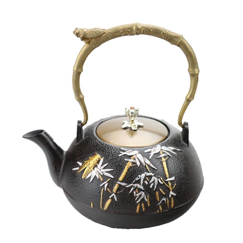 1 2L Southern Japanese Cast Iron Tea Pot Handpaited Bamboo Cicada Kettle Creative Kung Fu Teapot