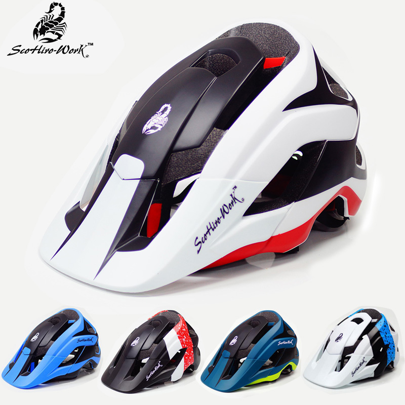 Mountain bike cycling black white helmet with visor mtb bicycle fox racing helmet metah for mem women Cascos bicicleta carretera universal bike bicycle motorcycle helmet mount accessories