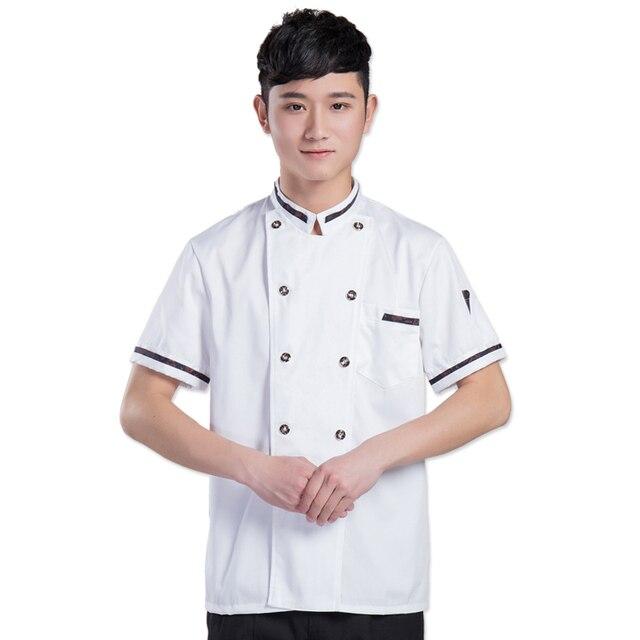 2017 Musim Panas Dapur Chef Jaket Seragam Lengan Pendek Memasak Pakaian Makanan Layanan Mantel Rok