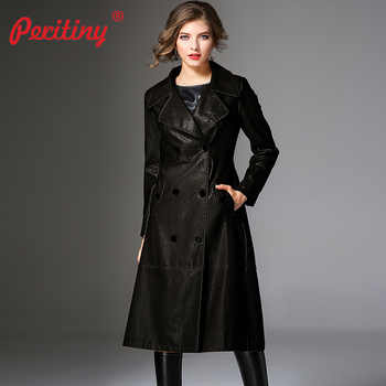 Peritiny Women Coats Autumn Winter Top Quality Fashion Brand Double Breasted PU Faux Leather Trench Coat for Women Outerwear