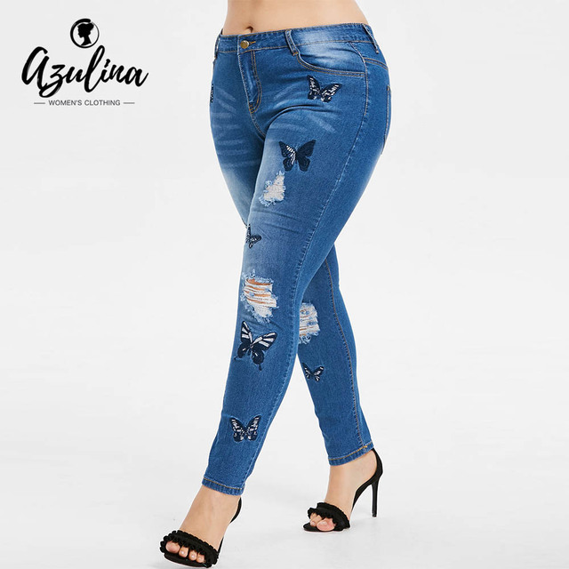 Rosegal Plus Size Butterfly Distressed Embroidered Jeans Women Pant Skinny High Waist Pencil Pants Denim Jean Ladies Trousers 3