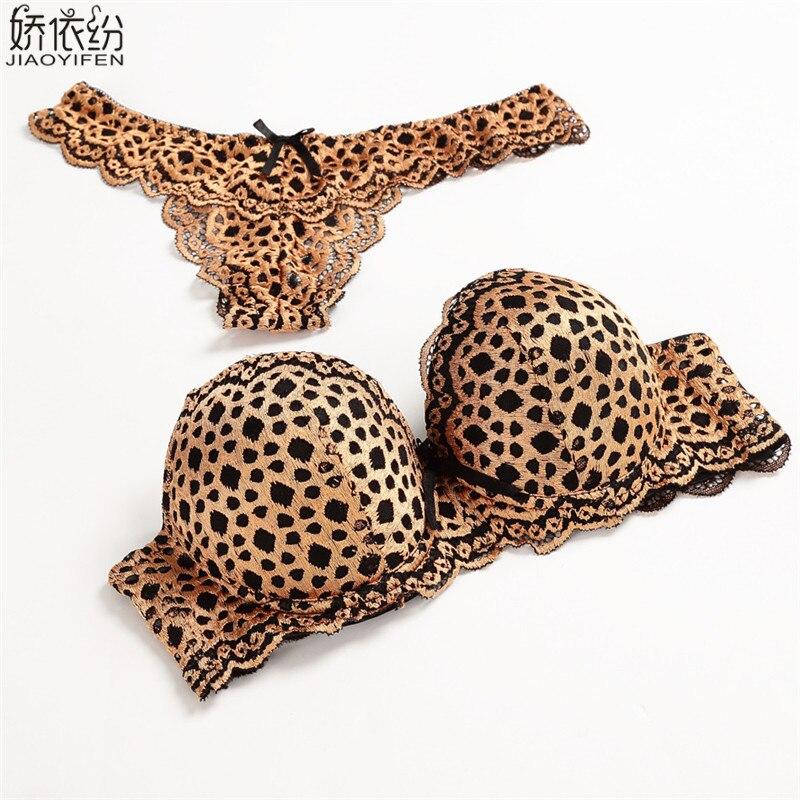 Women Underwear Sexy Lace Gold Leopard Temptation ABC Cup   Bra     Sets   Embroidery   Bra     Brief     Sets   T Panty Lingerie Push Up   Bra     Sets