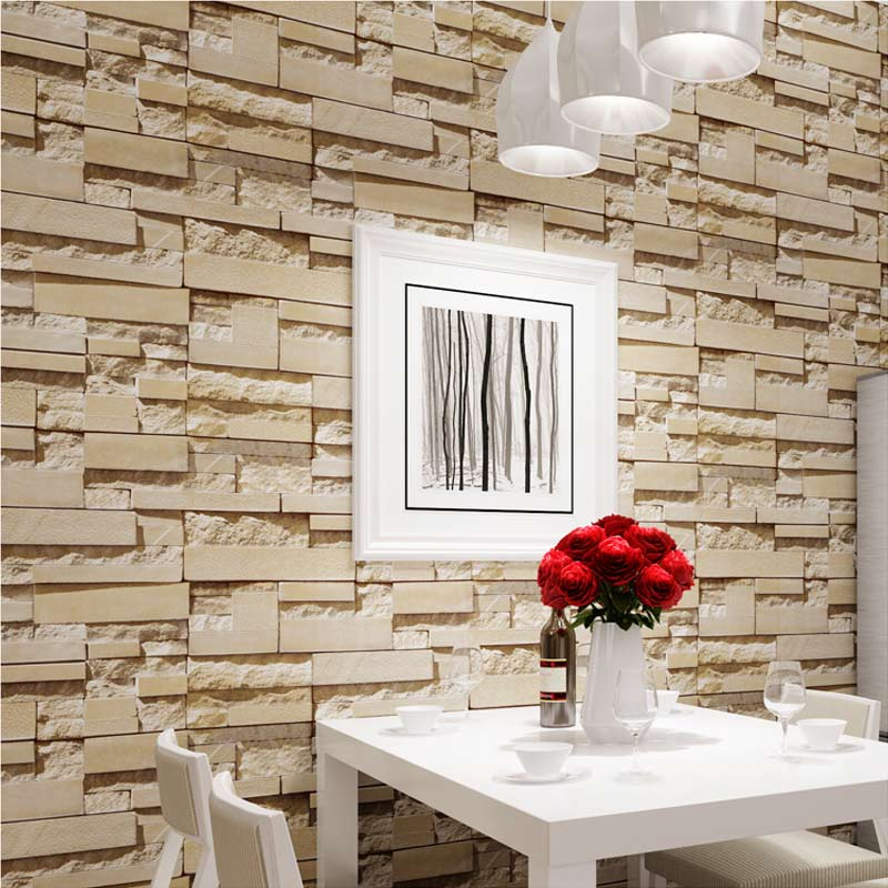 Luxury Stone Brick Wall 10M Vinyl Wallpaper Roll papel de parede 3D Living Room Background Wall Decor Art Wall Paper