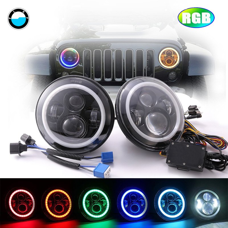 7'' LED Headlights RGB Halo Angel eyes 7 Round Multicolor DRL with Bluetooth Remote for Jeep Wrangler JK TJ LJ Hummer H1 H2. 7 led headlights bulb rgb halo angel eye with bluetooth remote for 1997 2016 jeep wrangler jk lj cj hummer h1 h2 headlamp