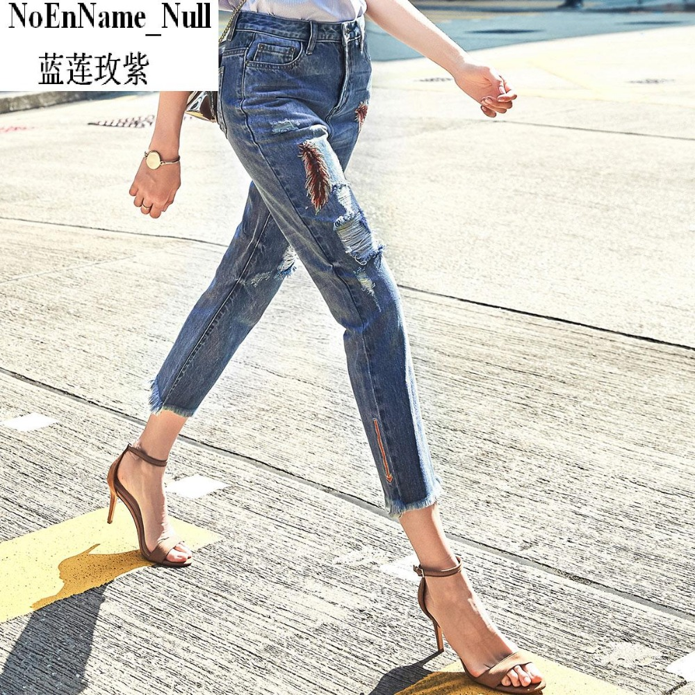 2017 spring summer jeans for girl feather embroidery length trousers jeans female casua hole denim pants women's цена