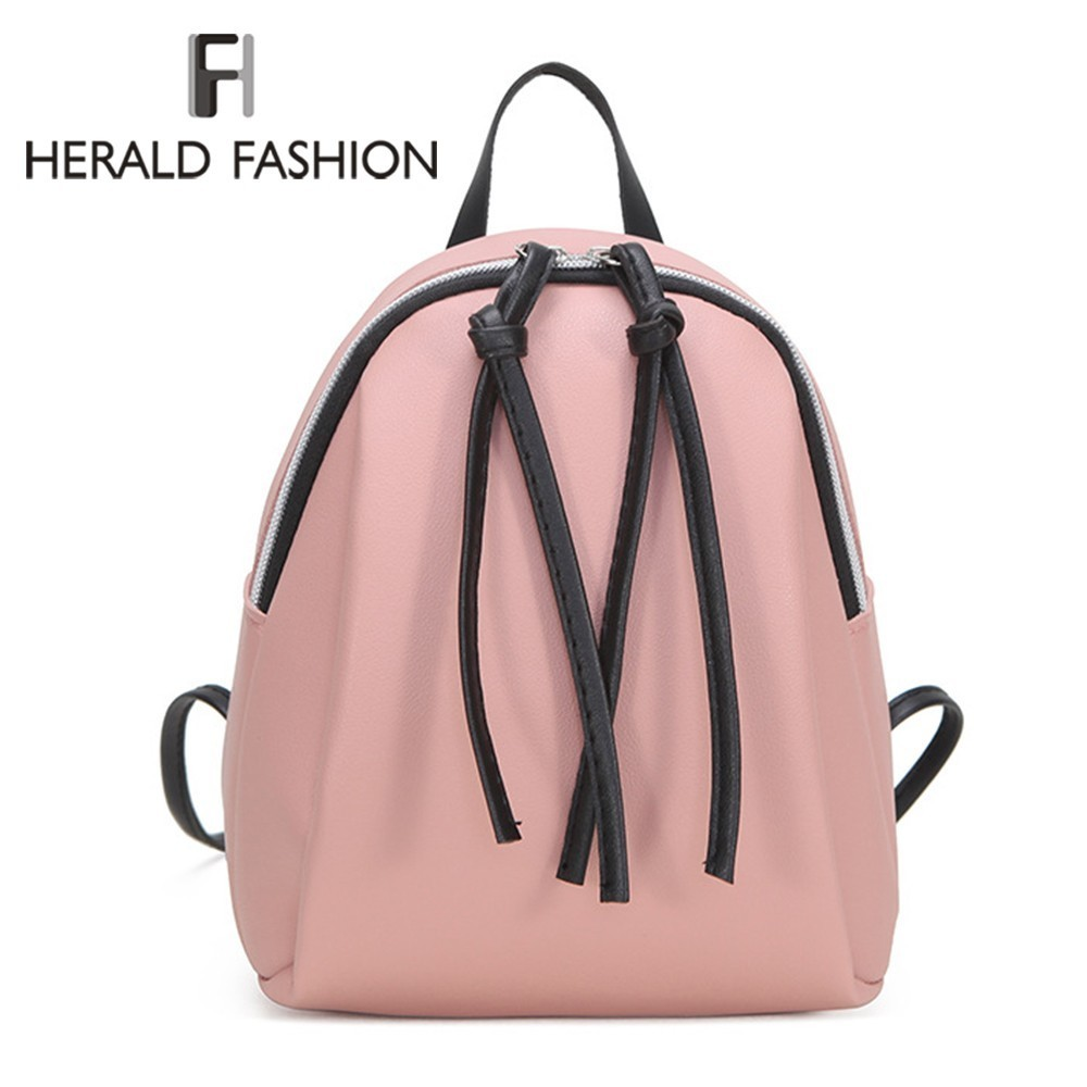 Herald Fashion Women Backpack With Tassel Mini School Book Bag For Teenage Girls Female Soft Leather Travel Backpack Mochila Sac