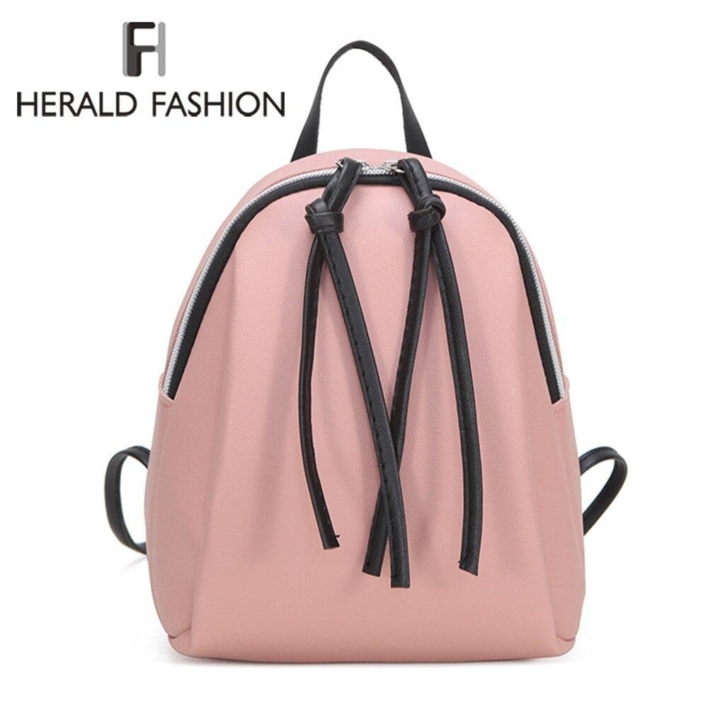 Herald Fashion Women Backpack With Tassel Mini School Book Bag For Teenage Girls Female Soft Leather Travel Backpack Mochila Sac