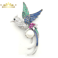 Legend Vintage Micro Pave CZ Colored Phoenix Brooch Silver Tone Mother Of Pearl Deco Red Green